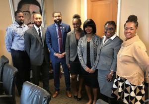 Jackson Mayor Chokwe Lumumba met with School of Social Work/ College of Public Service students Michael Peterson, Kamri Williams, Niasha Stewart and Deshayla Jackson regarding advocacy for Human Trafficking Awarness Month. School of Social Work professors Dr. Brian Anderson and Dr. Trenia Allen led the initiative.