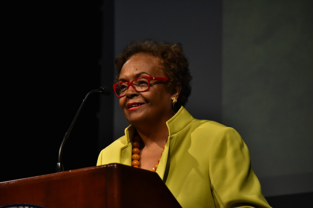 "Dr. Joyce Ladner, author, scholar and civil rights activists, recounts growing up in the ""rigorously segregated Mississippi."" (Photo by William Kelly, III/JSU)"