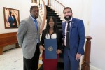 Jackson Mayor Chokwe Lumumba presents proclamation to JSU School of Social Work/College of Public Service student Deshayla Jackson for advocacy against Human Trafficking. Social Work Professor Dr. Brian Anderson led the initiative.