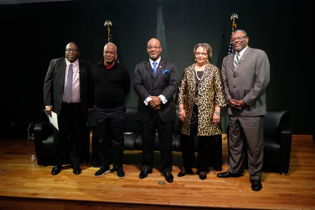 The documentary screened at Jackson State University was sponsored by Mississippi Public Broadcasting, JSU, Tougaloo College and JSU's Department of Journalism and Media Studies. Panelists included moderator Ronnie Agnew, president of MPB, left; filmmaker Stanley Nelson; JSU President Dr. William B. Bynum Jr.; Tougaloo President Dr. Beverly Wade Hogan; and Mississippi Valley State University President Dr. Jerryl Briggs. (Photo by Charles A. Smith/JSU)