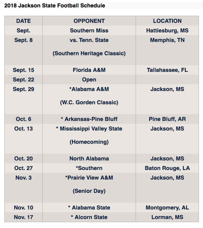 2018 JSU Fall Football Schedule