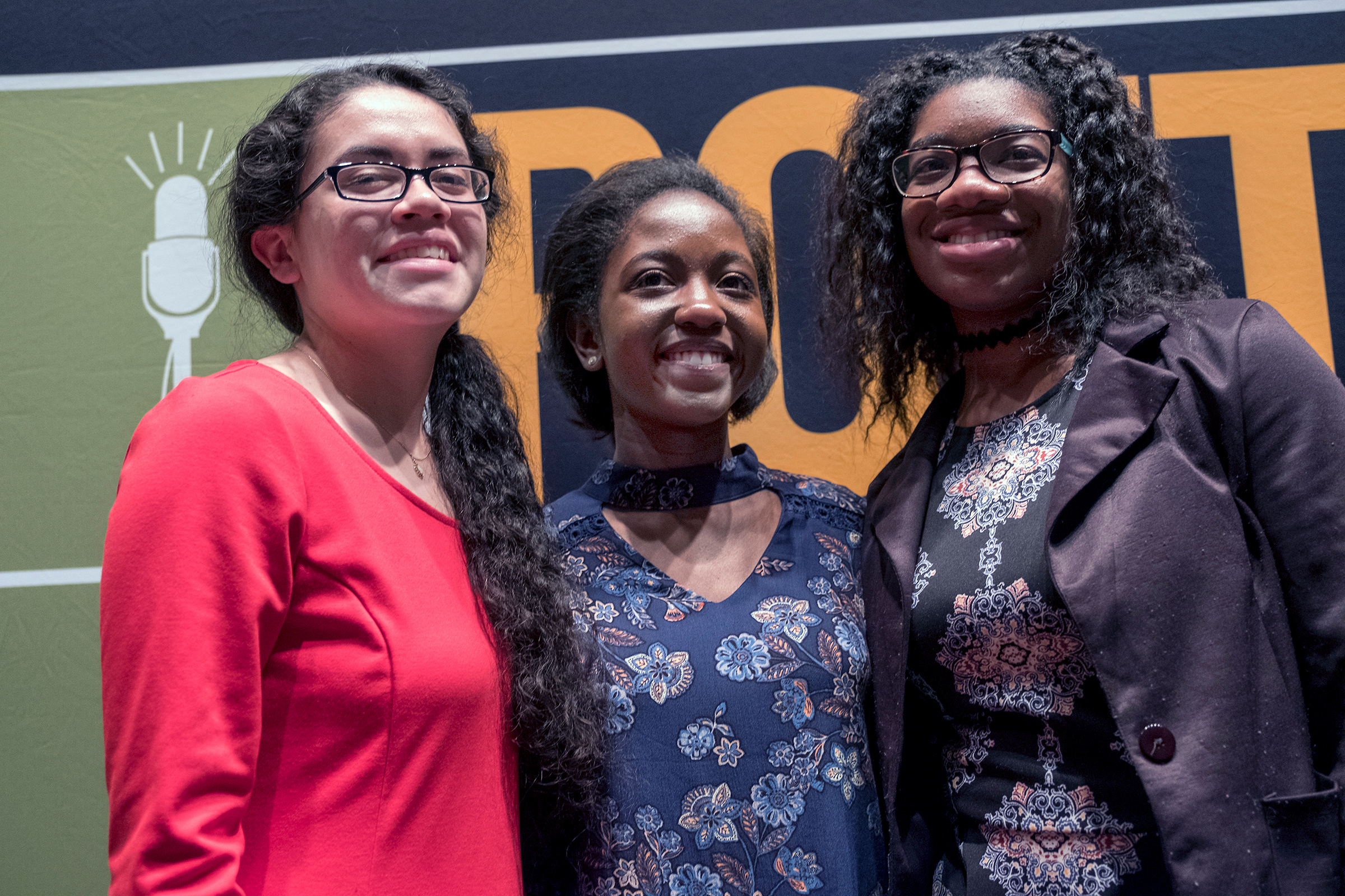 Desiree Roby,left, Taylor Mills and Olivia Bond are the three finalist of the Poetry Out Loud contest hosted annually by the Margaret Walker Center at JSU. (Photo by Charles A. Smith/JSU)