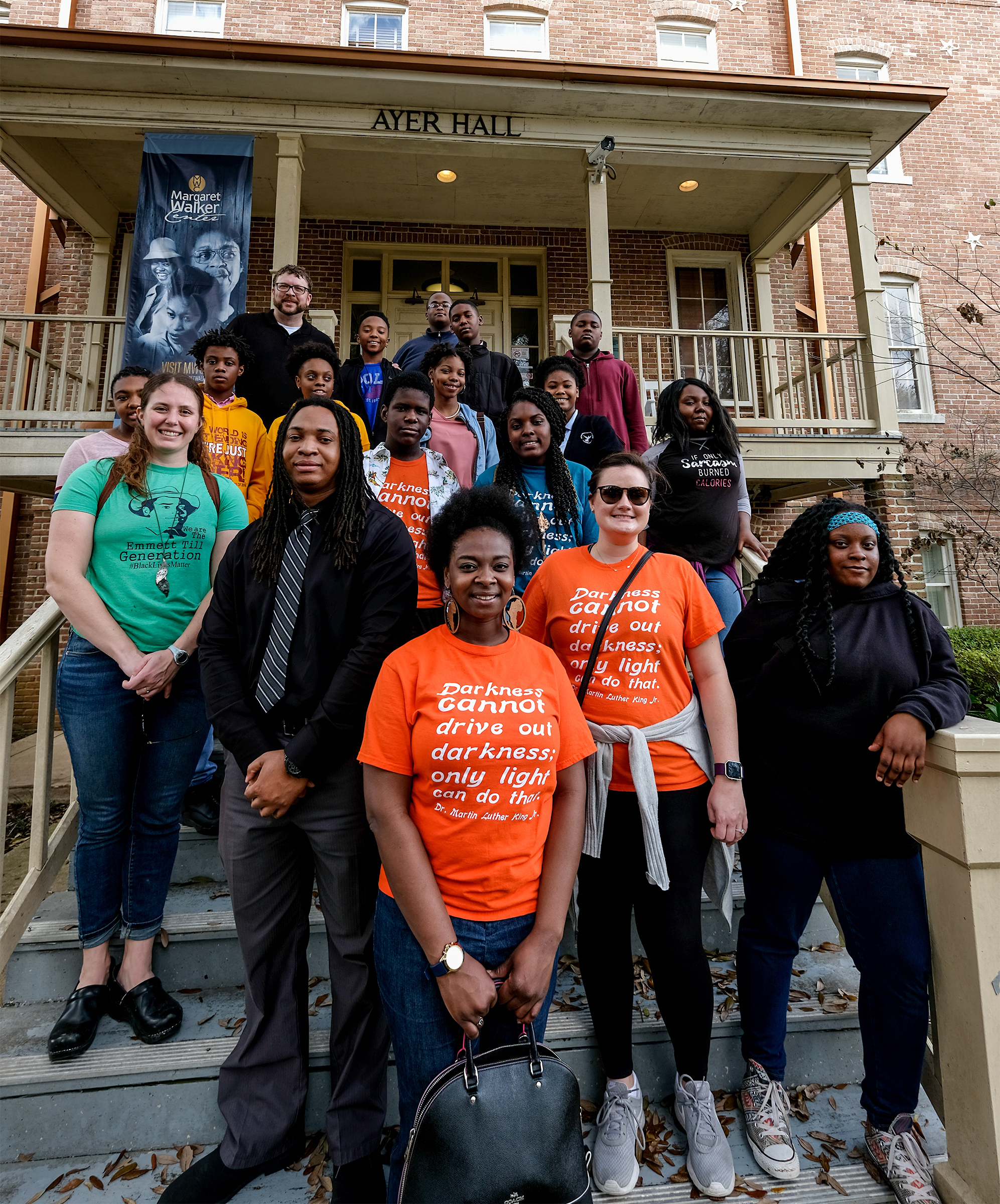 "Students from the Sunflower County, Meridian and Rosedale Mississippi Freedom Project take a civil rights tour of JSU and later put on the play ""Crumbs from the Table of Joy"" at the COFO center. (Photo by Charles A. Smith/JSU)"