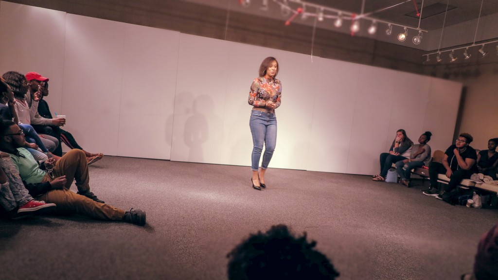 "Sydni Rose's spoken-word piece ""Vibin' and Coolin'"" was an attestment to summer love and the disappointment that follows when it ends. (Photo by Rachel James-Terry/JSU)"