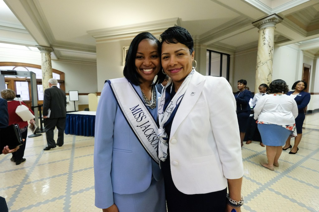 JSU first lady Deborah Bynum and Miss JSU Comelia L. Walker were among hundreds meeting guests and chatting with lawmakers. (Photo by Charles A. Smith/JSU)