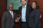 (l-r) IHL trustee Shane Hooper, Dr. Robert E. Luckett Jr., director of the Margaret Walker Center for the study of African-American Experiences, Dr. Debra Mays-Jackson, vice president and chief of staff, Jackson State University (Photo courtesy of IHL)