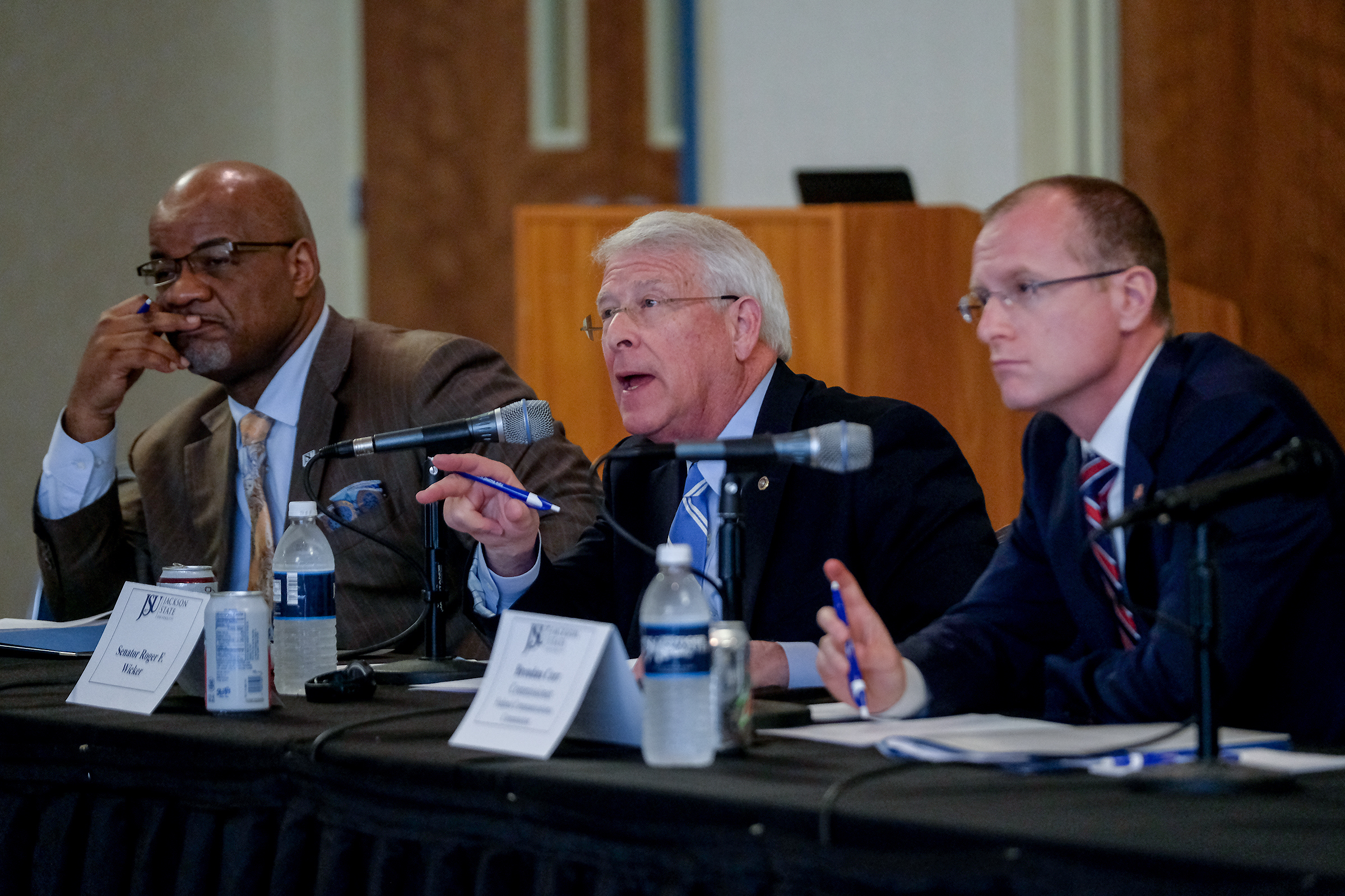 A pensive JSU President William B. Bynum Jr. listens as Mississippi U.S. Sen. Roger Wicker engages experts in a dialogue about the digital divide and a gap in Mississippi's qualified workforce. (Photo by Charles A. Smith/JSU)