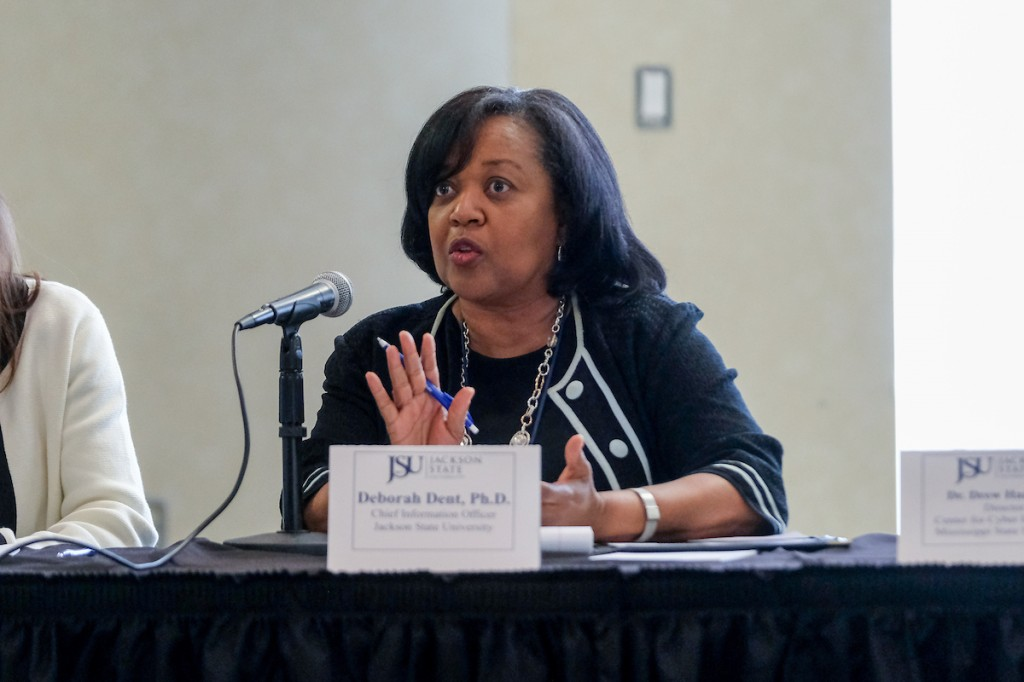 "Dr. Deborah Dent, chief information officer at JSU, said, ""Information Technology is critical, and one of the most critical things that we're concerned about is cybersecurity."" (Photo by Charles A. Smith/JSU)"