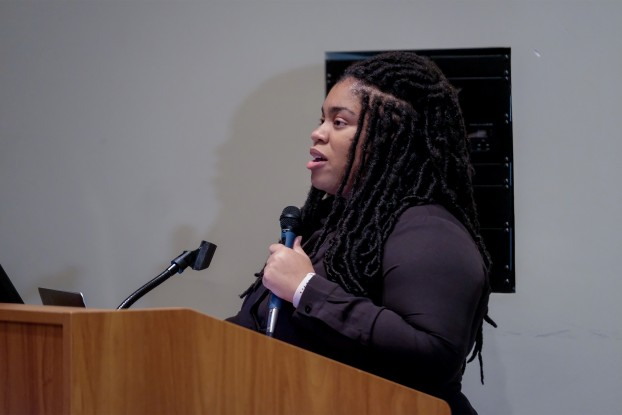 "Author Angie Thomas tells an audience at JSU how rapper Tupac Shakur, her childhood and social injustice led to her writing the New York Times bestseller ""The Hate U Give."" (Photo by Charles A. Smith/JSU)"