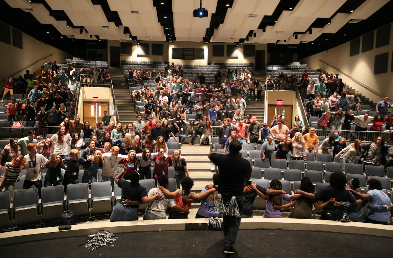 Jackson State University rallies a crowd of seniors, faculty and staff at Ocean Springs High School (OSHS) during a Presidential Tour organized by Enrollment Management and Undergraduate Recruitment. (Photo by Spencer L. McClenty/JSU)