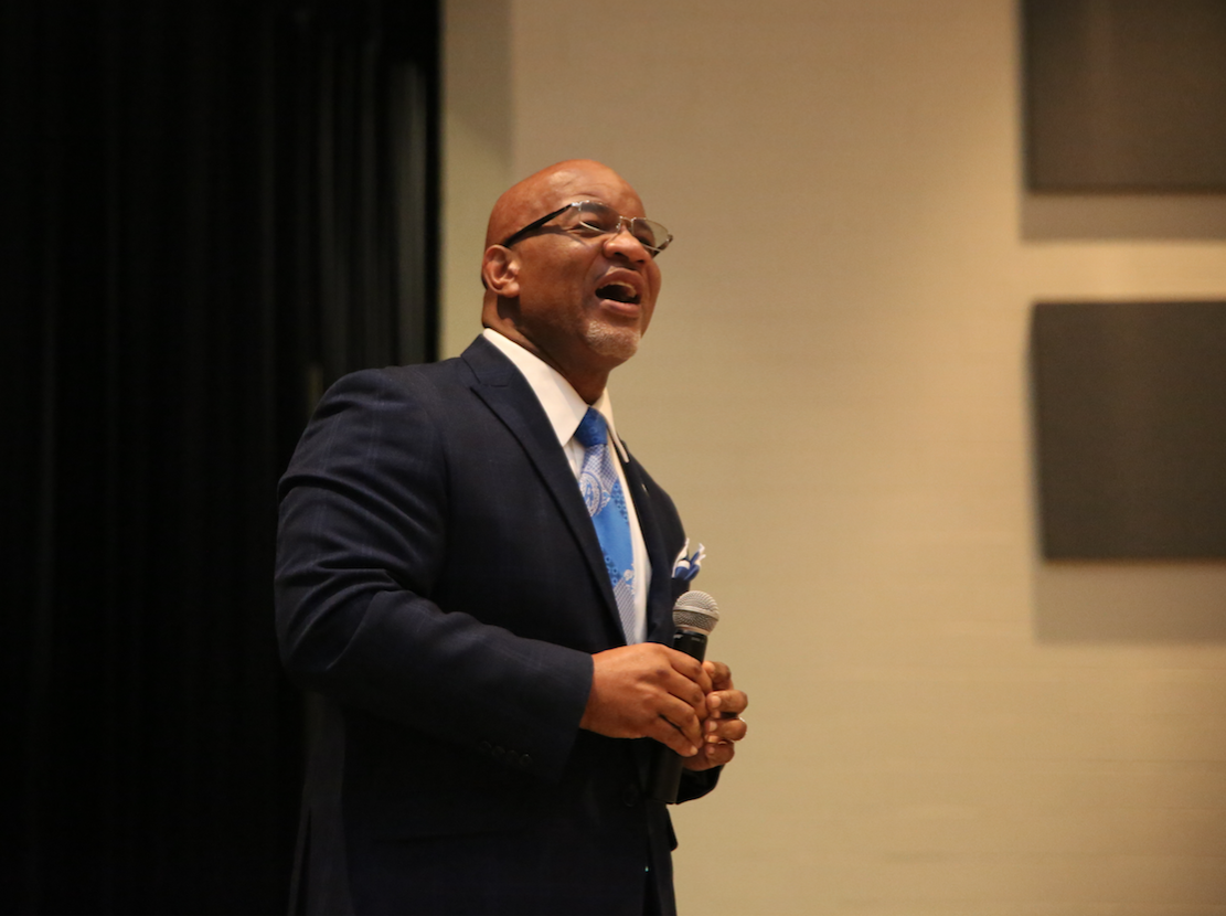 JSU President William B. Bynum reels off a list of accomplishments by JSU as he invites Ocean Springs seniors to consider JSU as a top location for continuing their academic education. (Photo by Spencer L. McClenty/JSU)