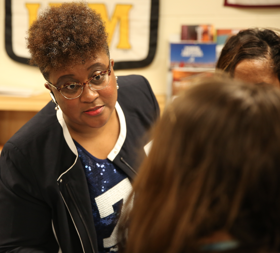 MeShonya Wren-Coleman, director of JSU's First-Year Experience, was among dozens of representatives from a number of JSU departments and colleges answering question about the HBCU. (Photo by Spencer L. McClenty/JSU)