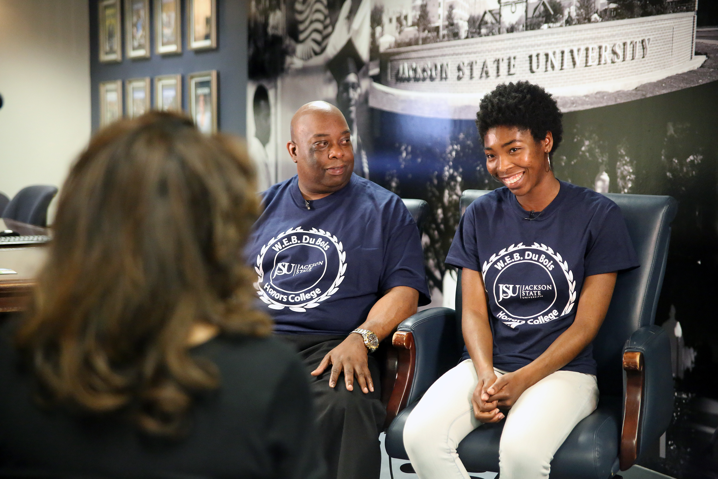 "Abram and Najla Muhammad talk to WLBT about their history making achievement. ""I'm excited to share this accomplishment with my father,"" says Najla, a communicative disorder major. (Photo by Aron Smith/JSU)"