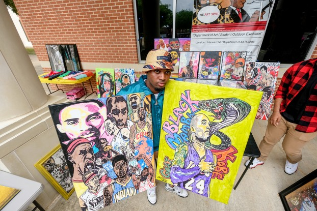 "Local artist Chancellor Harris says markers are his specialty as he exhibits his drawings at JSU's Art Spot. ""When my grandma died, I got involved with art. It helped me out with my depression. I just put my emotions into my art,"" said the Memphis native."