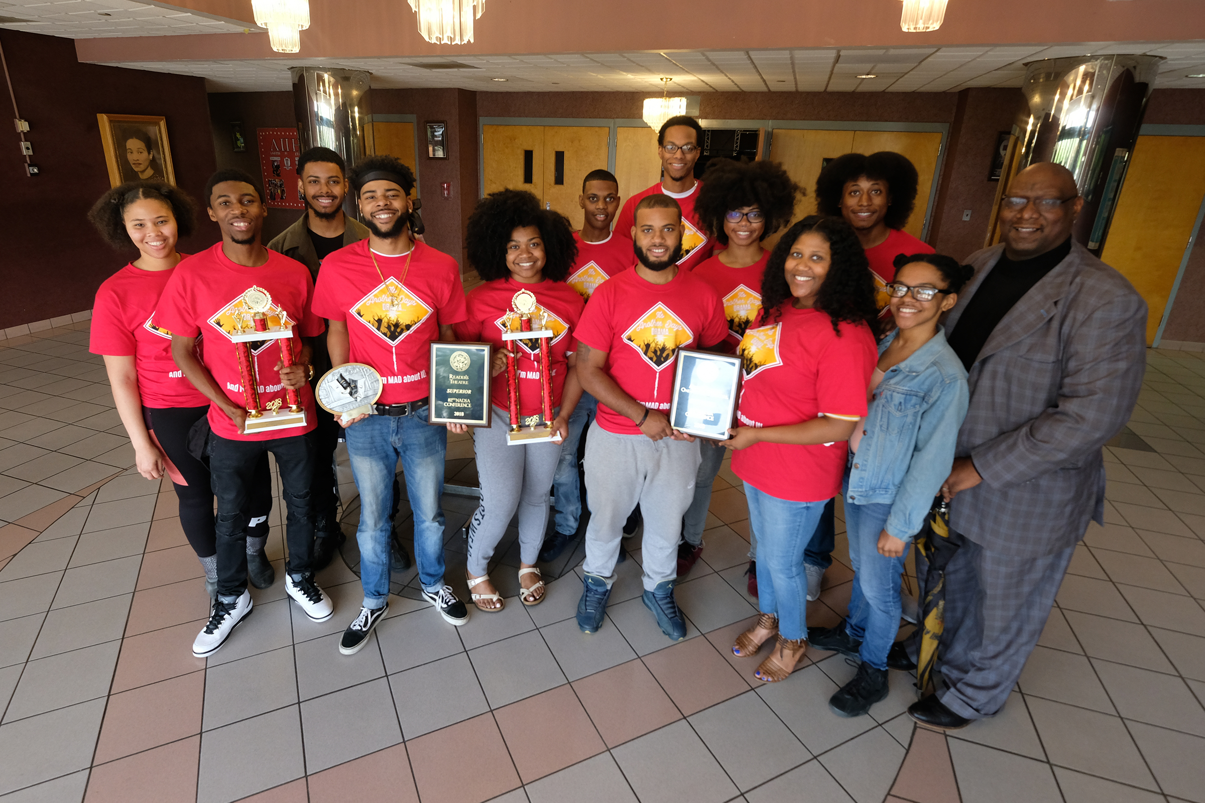 JSU students and members of the theatrical performance troope MADDRAMA brought home more first-place awards than their competitors at the 82nd Annual National Association of Dramatic and Speech Arts Competition in March. (Photo by Charles A. Smith/JSU)