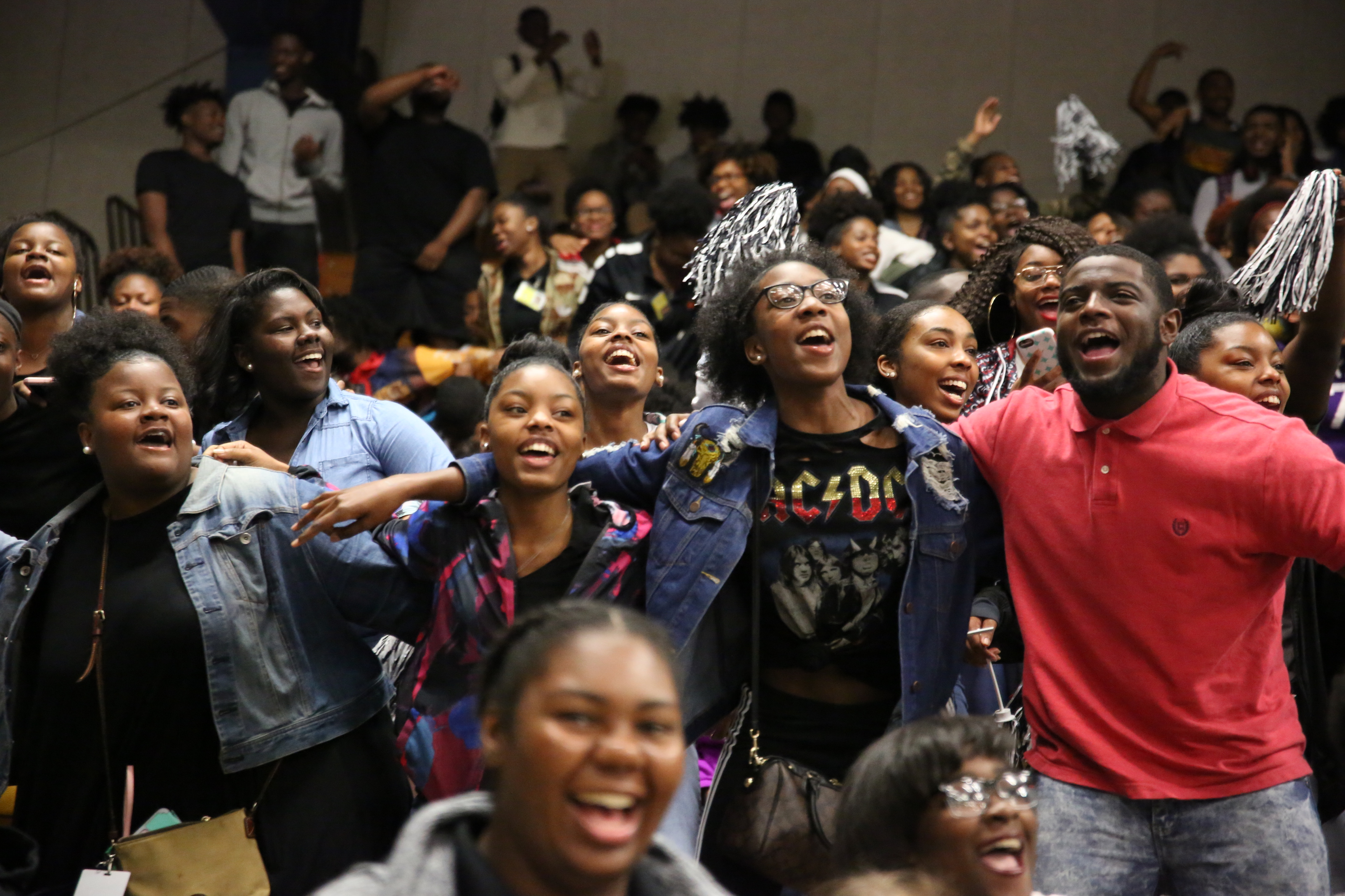 Greenville students are hyped by the Sonic Boom and other JSU performances during a recent Presidential Recruitment Tour in the Delta. About 1,000 students from more than a dozen schools assembled inside the Washington County Convention Center. (Photo by Spencer L. McClenty/JSU)