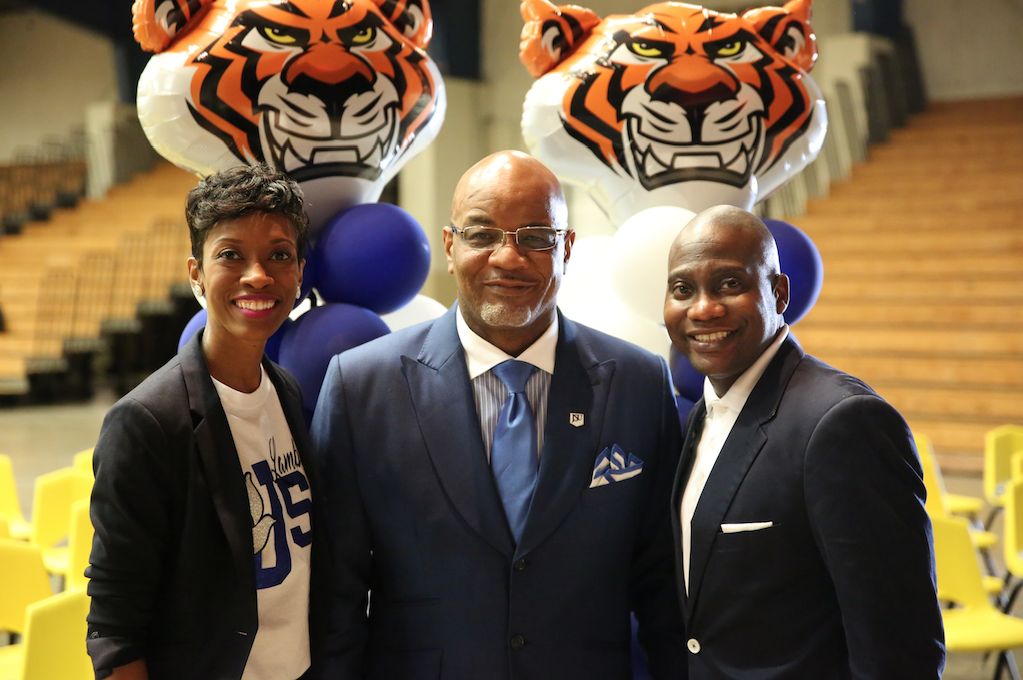 JSU President William B. Bynum Jr. is welcomed to Greenville by Mayor Errick Simmons and wife Dr. Temika M. Simmons. (Photo by Spencer L. McClenty/JSU)