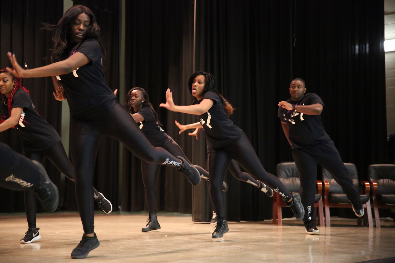 The JSU Dance Ensemble gets a kick out of electrifying the crowd in Greenville. (Photo by Spencer L. McClenty/JSU)