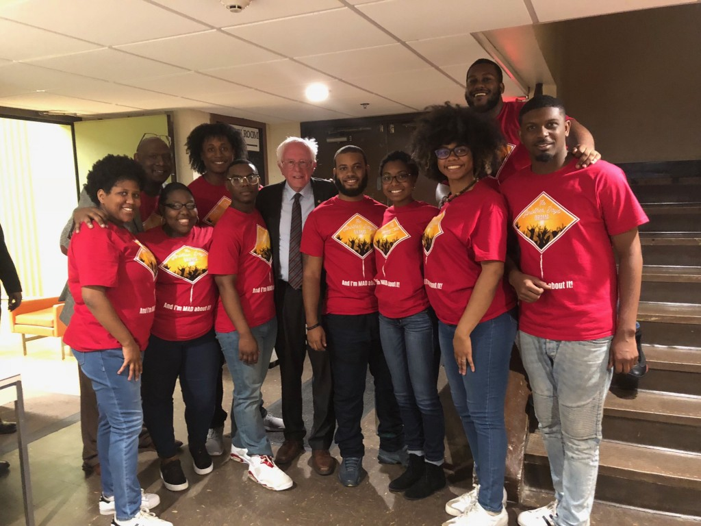 Members of JSU's student theatrical performance troupe MADDRAMA met with U.S. Sen. Bernie Sanders before their performance during a townhall discussion on economic justice in Jackson. (Photo special to  University Communications)