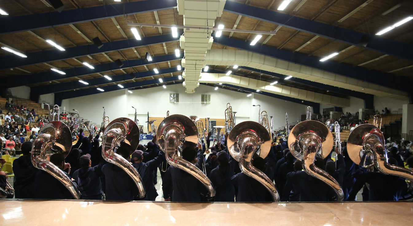 JSU's Sonic Boom helps pump up the crowd in Greenville. Massive sounds from the tuba squad reverberated throughout the Washington County Convention Center. (Photo by Spencer L. McClenty/JSU)