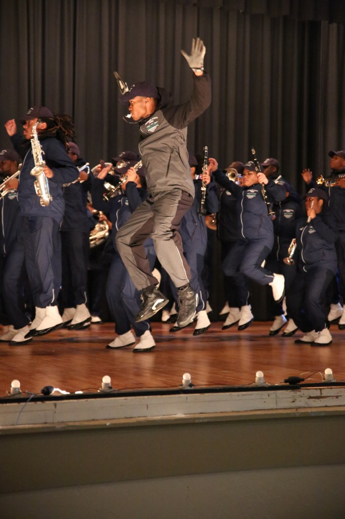 Leaping into action, the Sonic Boom shakes up Meridian High School during a stage performance. (Photo by Spencer L. McClenty/JSU)