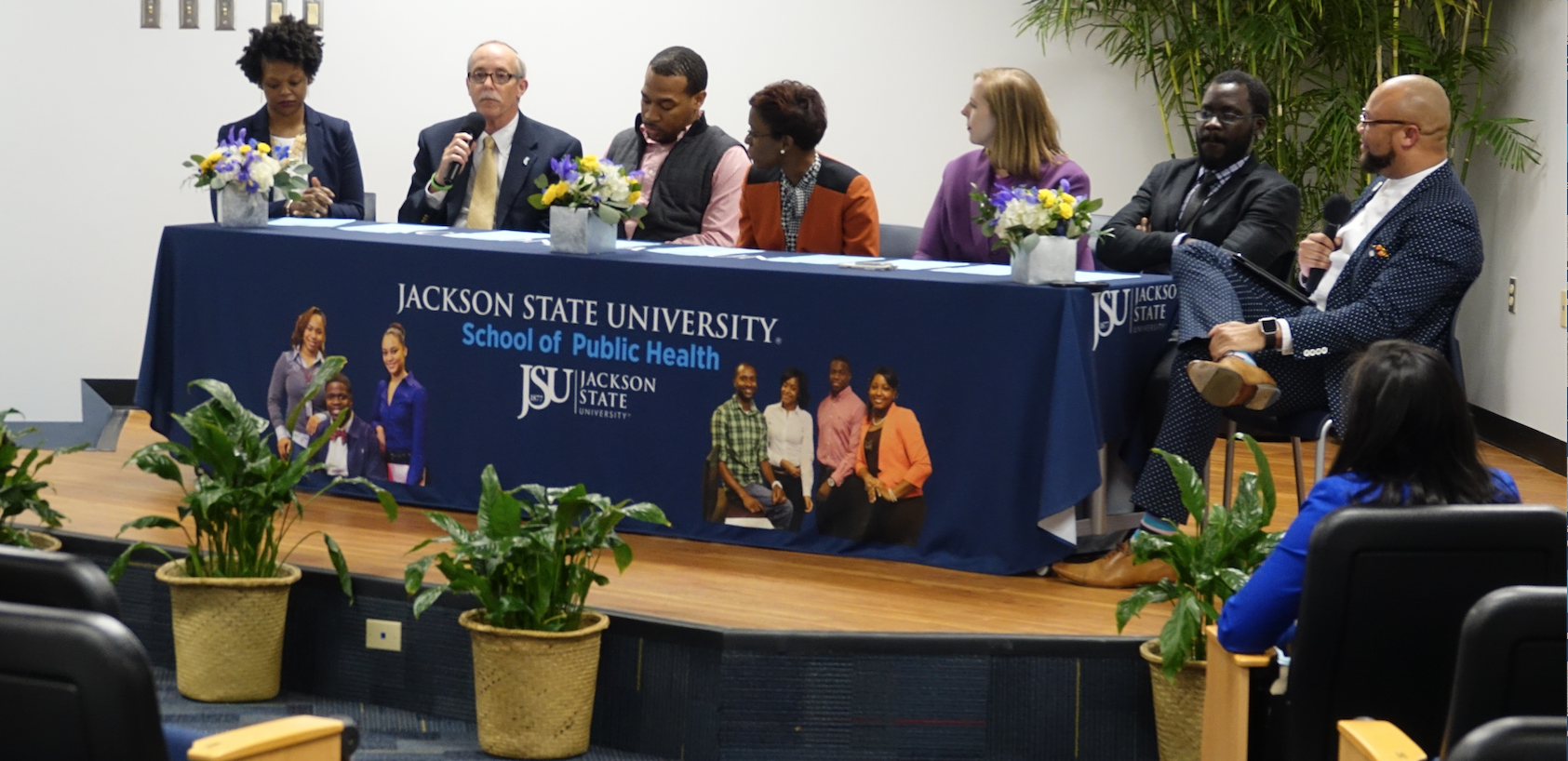 Pubic health professionals assembled inside the Jackson Medical Mall on Wednesday during National Public Health Week to share why their roles are important in saving humanity. Among the JSU alumni panelist included Dr. Nakeitra Burse, left, a grant writer in JSU's School of Public Health (SPH); Jim Craig, director of Health Protection for the Mississippi State Department of Health; and Chris Cox, director of Youth Programming for Teen Health Mississippi. Other participating alums who shared their expertise were D'Angelique Lister, a school health coordinator for Partnership for a Healthy Mississippi; Dr. Amy Radican-Wald, a senior policy analyst for the Center for Mississippi Health Policy; and Dr. Vincent Mendy, an assistant professor in JSU's Department of Epidemiology and Biostatistics. Alum and moderator Christopher Lane, a research compliance officer in JSU's Division of Research and Federal Relations, earned his master's in public health in 2016.