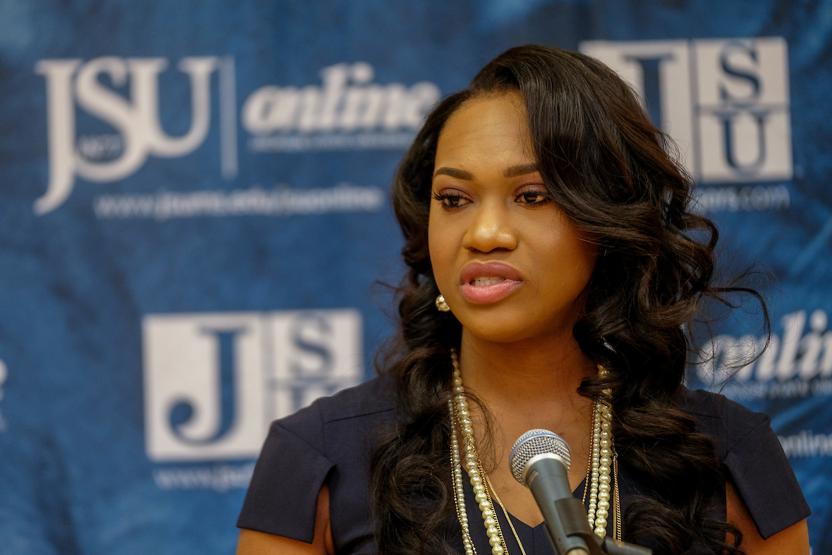 "Tomekia Reed, a native of Jackson, is a longtime coach with a successful career at the junior college and university levels. ""I can't wait to get to work and showcase our great university and fantastic student-athletes on and off the court,"" Reed said. (Photo by Charles A. Smith/JSU)"
