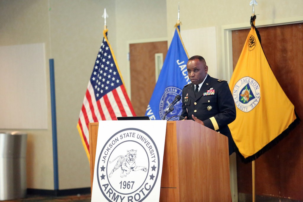 "Brigadier Gen. (Ret.) Robert Crear, a JSU alum with a nearly 23-year active-duty career, told cadets being commissioned as second lieutenants ""you are special because you have chosen to serve and defend the dreams of others. This sets you apart from others. … You join a long line of patriots for a noble cause."" Photo by Aron Smith/JSU)"
