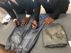 Each denim, signed by a number of supporters, eventually will be placed on public display. (Photo by L.A. Warren/JSU)