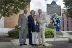"Several people attended the 48th anniversary of the deadly tragedy at JSU that occurred May 15, 1970. Standing in front of Alexander Hall, which was struck by gunfire, are survivors XXXXXXX, left, Eddie Jean Carr and James ""Lap"" Baker. They're accompanied by Aeneas Bridges, who is learning about JSU's past so he can be part of its future."