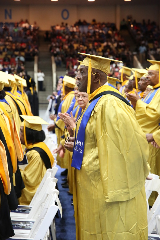 Members of the Golden Class of 1968 are recognized during the spring commencement ceremony. (Photo by Spencer L. McClenty/JSU)
