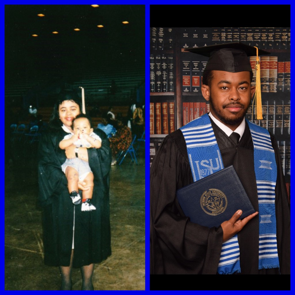 "Before and After: Rodney Daniely and his mother Chernita Blackmon Daniely say they are indebted to JSU for nurturing both of them. Rodney: ""JSU helped me grow my way of thinking and changed my way of looking at life."" Chernita Daniely: ""Things happen in life that we don't always plan for, but with perseverance you can stick with it and make it happen."""