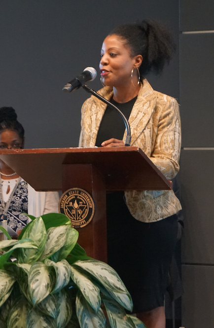 Prior to commencement, Bennetta Robinson received the highest graduate grade point average award at the  College of Public Service honors program. She also provided a phenomenal welcome address at the CPS program.