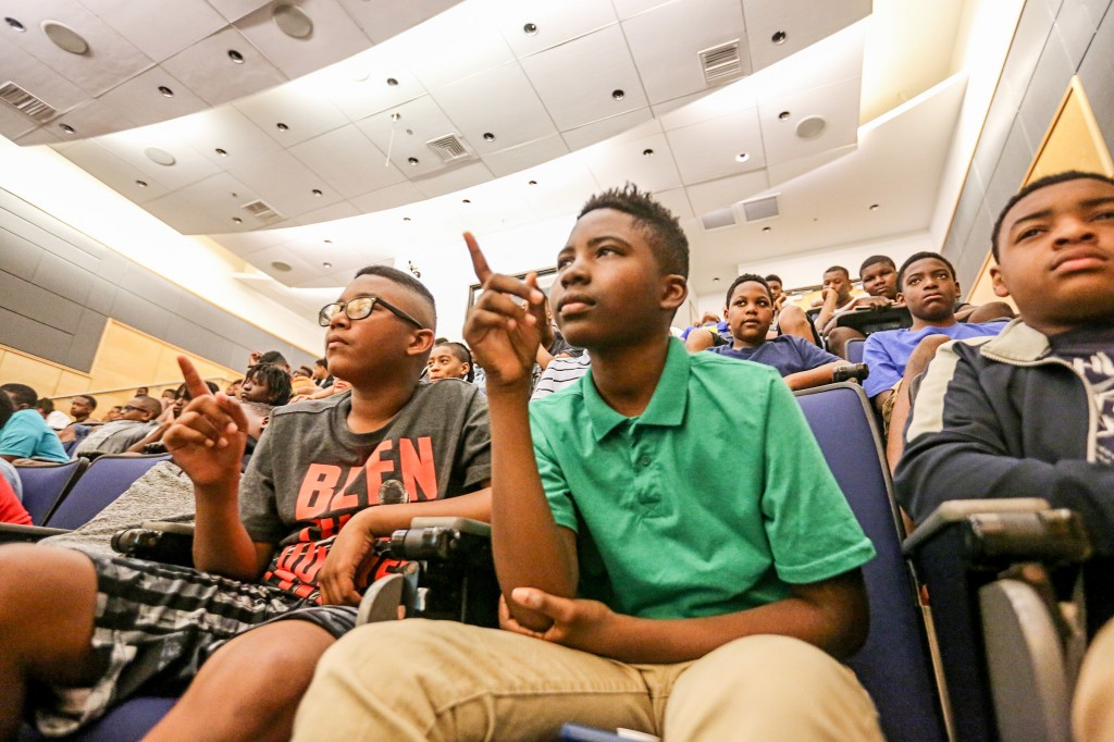 Students participating in JSU's Verizon Innovative Learning Minority Male Program react to Capt. Barrington Irving's eye-opening expeditions around the world. (Photo by Aron Smith/JSU)