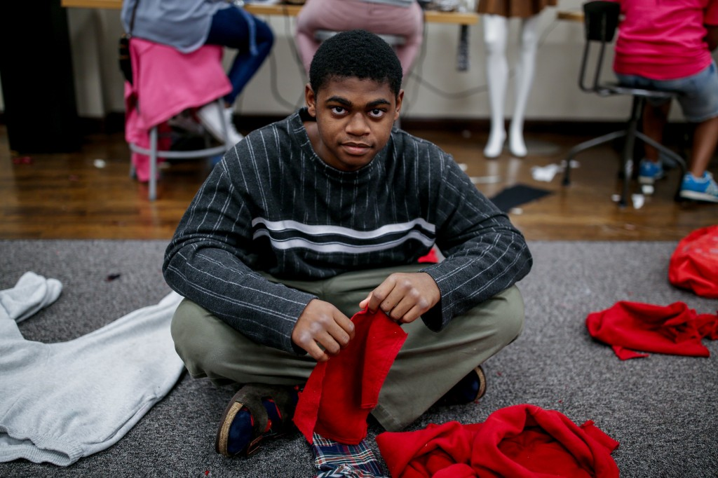 Derrick McNealy is one of the few guys in the JSU summer sewing camp. The upcoming senior from Madison Central High School  believes sewing is a skill that is beneficial for all people from various walks of life.  (Photo by Charles A. Smith/JSU)