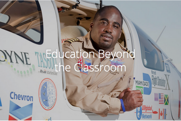 "Capt. Barrington Irving, creator of the STEM education tool the ""Flying Classroom"" became the first and youngest African-American pilot to fly around the world solo at the age of 23. During a 97-day journey, he flew 30,000 miles despite encountering multifarious conditions of snow, ice, sand, and thunderstorms. (Photo source: Flying Classroom website)"