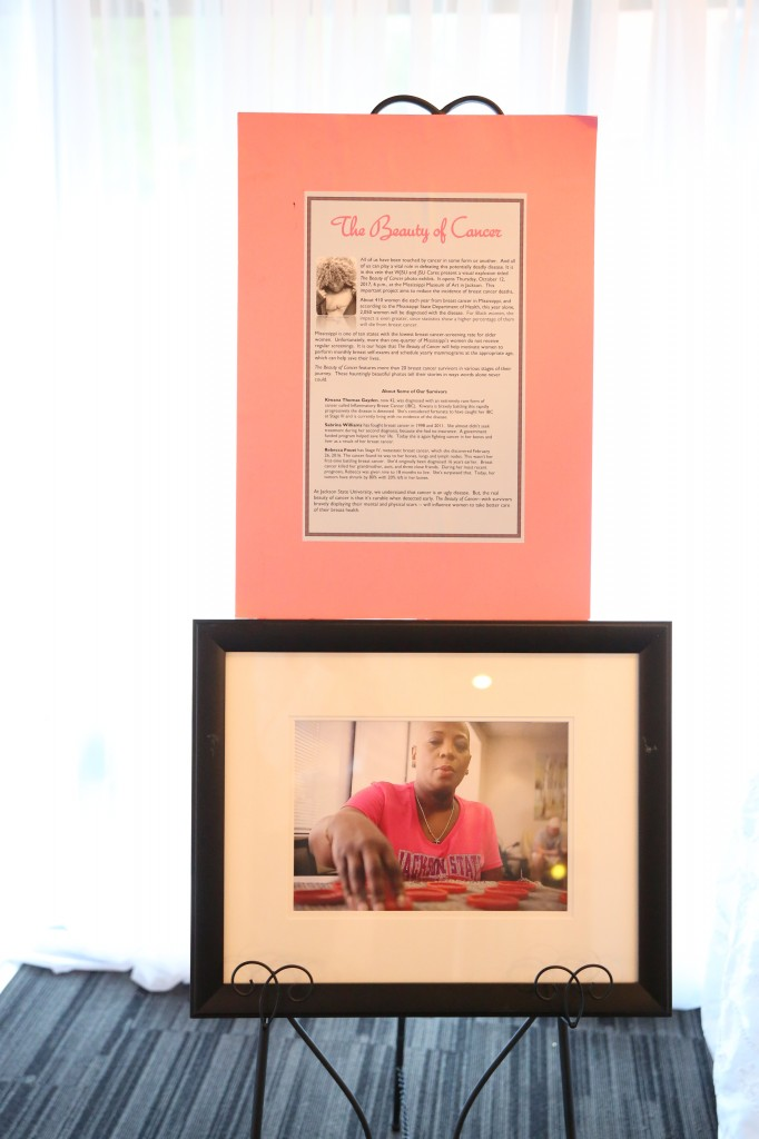 This history of the Beauty of Cancer shows images of Carter-Simmers. Portraits of her and other breast cancer survivors were on display at the Museum of Fine Art in October. (Photo by Spencer L. McClenty/JSU)
