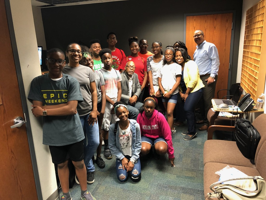 Potential future journalists spent time at WJSU radio station at the Mississippi e-Center@JSU. They completed two commercial spots. (Photo by Kerriana Moore/Special to JSU)