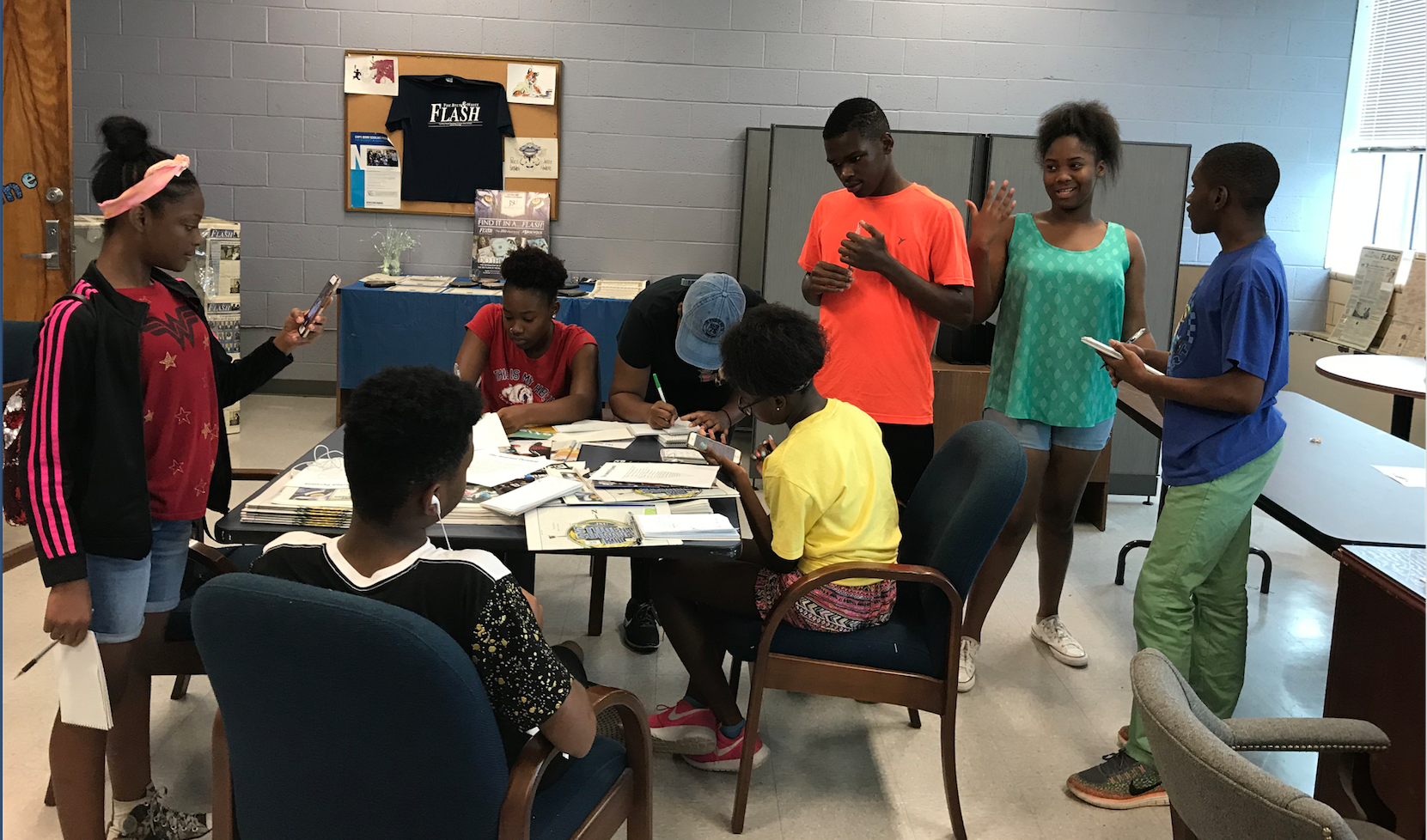 Students with 7Deep interview each other for stories they wrote on the summer program excursions. (Photo by Kerriana Moore/Special to JSU)