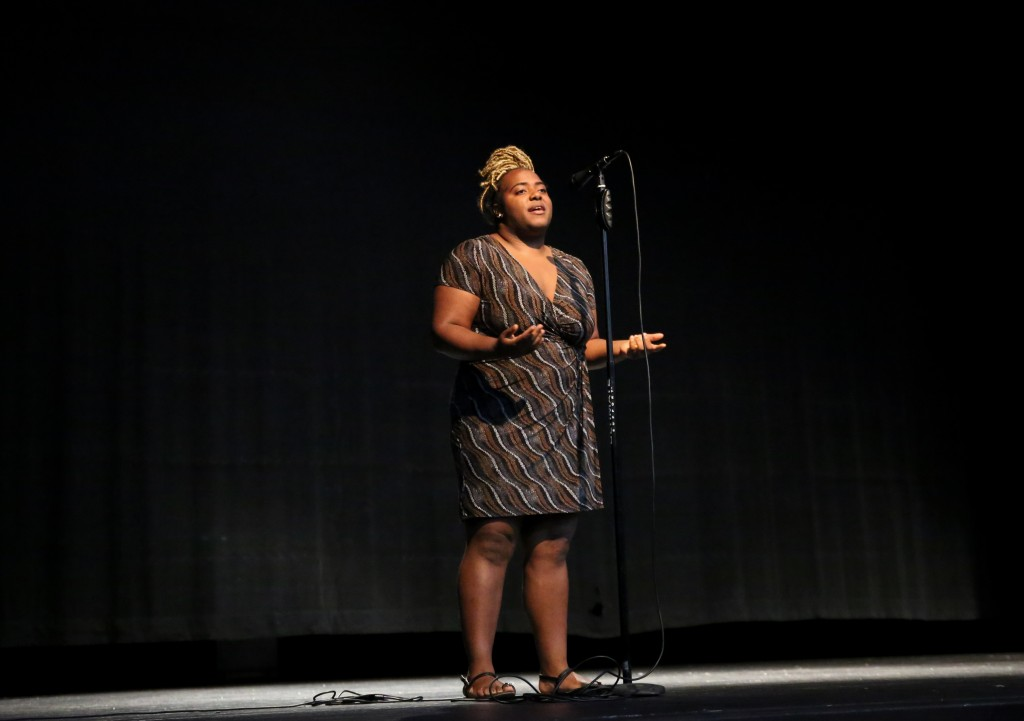 "Jasmine Thomas gave the audience a glimpse into the mind of a person with clinical depression with her original spoken word piece titled: ""Places in My Mind."" (Photo by Kentrice S. Rush/JSU)"