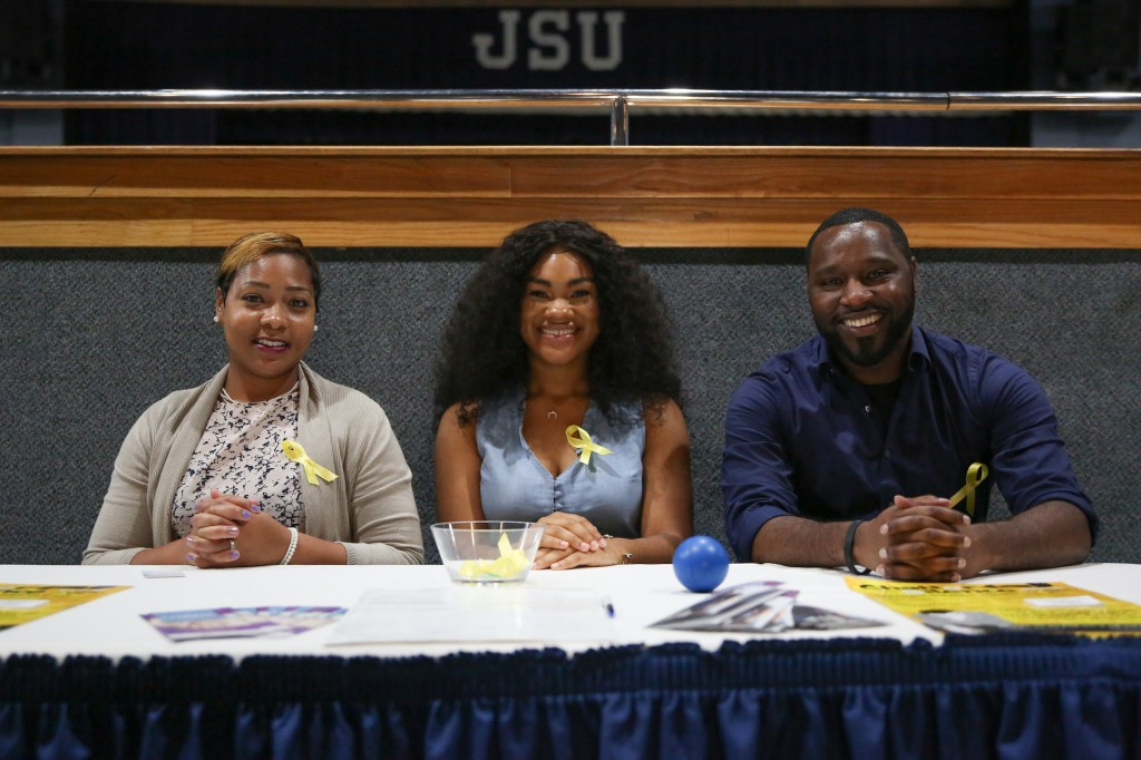 Latasha Norman Counseling Center staff members Shanice White, lead therapist, (left); Princess Hollins, peer educator, and Antonio Horton, counselor, provided faculty, staff and students with life-saving information during their suicide prevention program earlier this week. (Photo by Kentrice S. Rush)