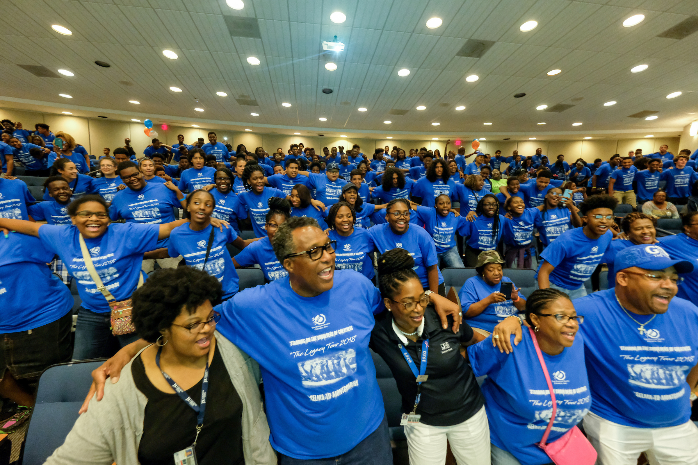 The Dallas Legacy Tour, consisting of over 200 high school students and 40 chaperones, stopped at Jackson State University so students could learn more about the HBCU. (Photo by Charles A. Smith/JSU)