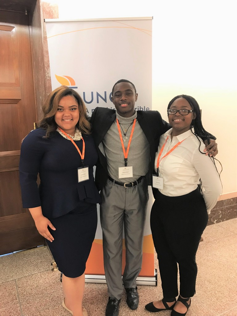 JSU students Jasmine Gibson (left) Clement Gibson (center) and Chave Wicks (right), spent their summer interning through the Walton UNCF K-12 Education Fellowship. (Photo special to JSU)
