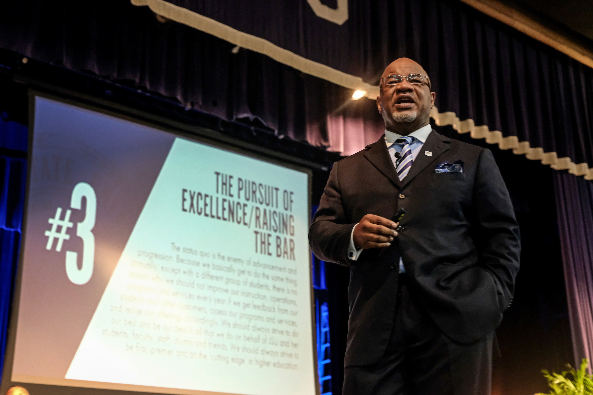 JSU President William B. Bynum Jr. outlines his goals for transforming JSU through planning and prioritization. He delivered the keynote address during the first of a two-day Fall Faculty and Staff Seminar. (Photo by Charles A. Smith/JSU)
