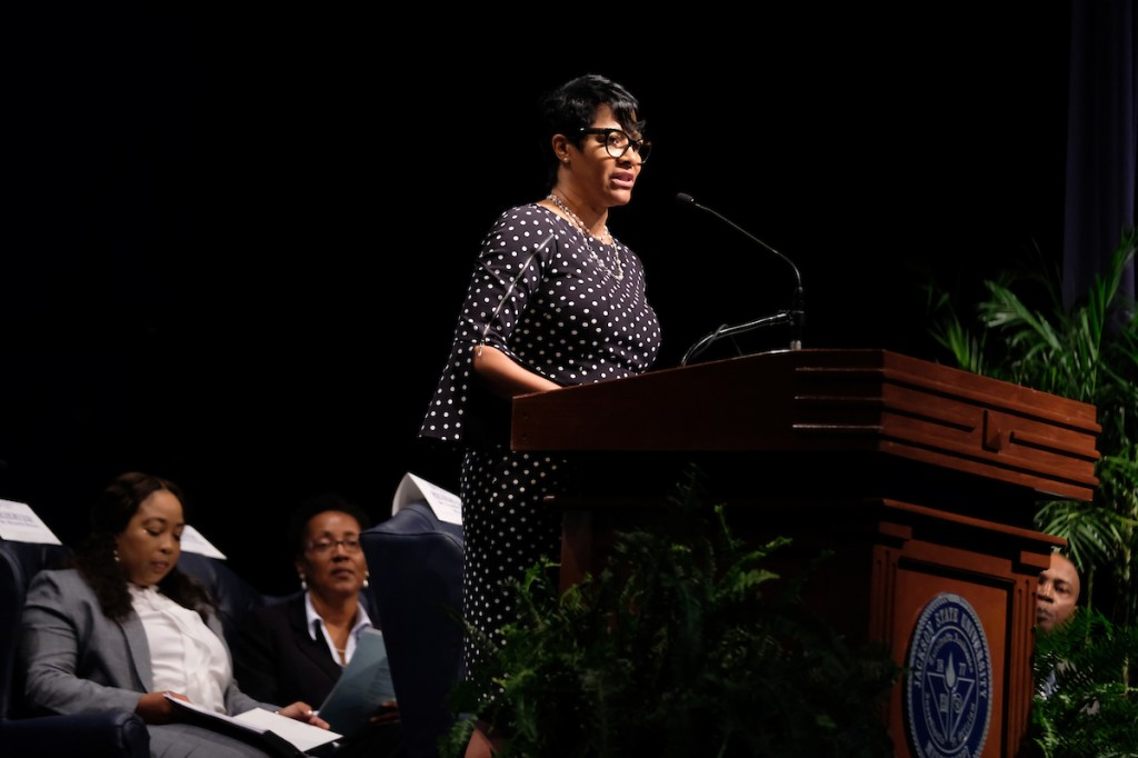First lady Deborah Bynum shared her efforts to improve the quality of life for students and the community. Her initiatives consist of recycling, a career closet and food pantry. (Photo by Charles A. Smith/JSU)