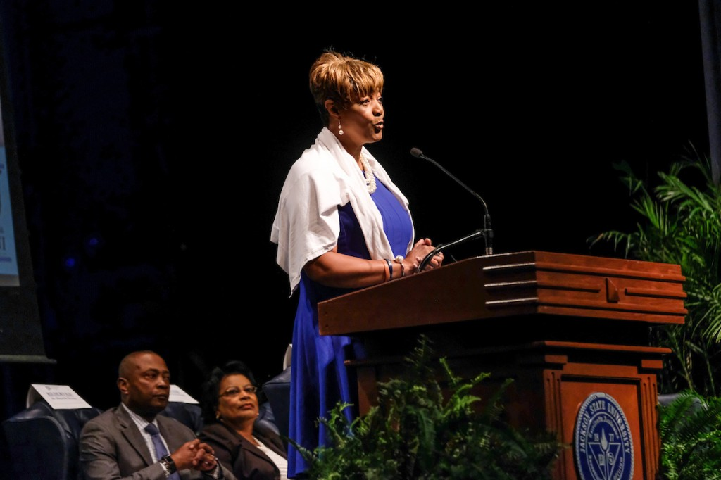 FFSSPix6: Dr. Earlexia Norwood, president of the Jackson State University National Alumni Association, outlines goals to help JSU reach its fullest potential. (Photo by Charles A. Smith/JSU)