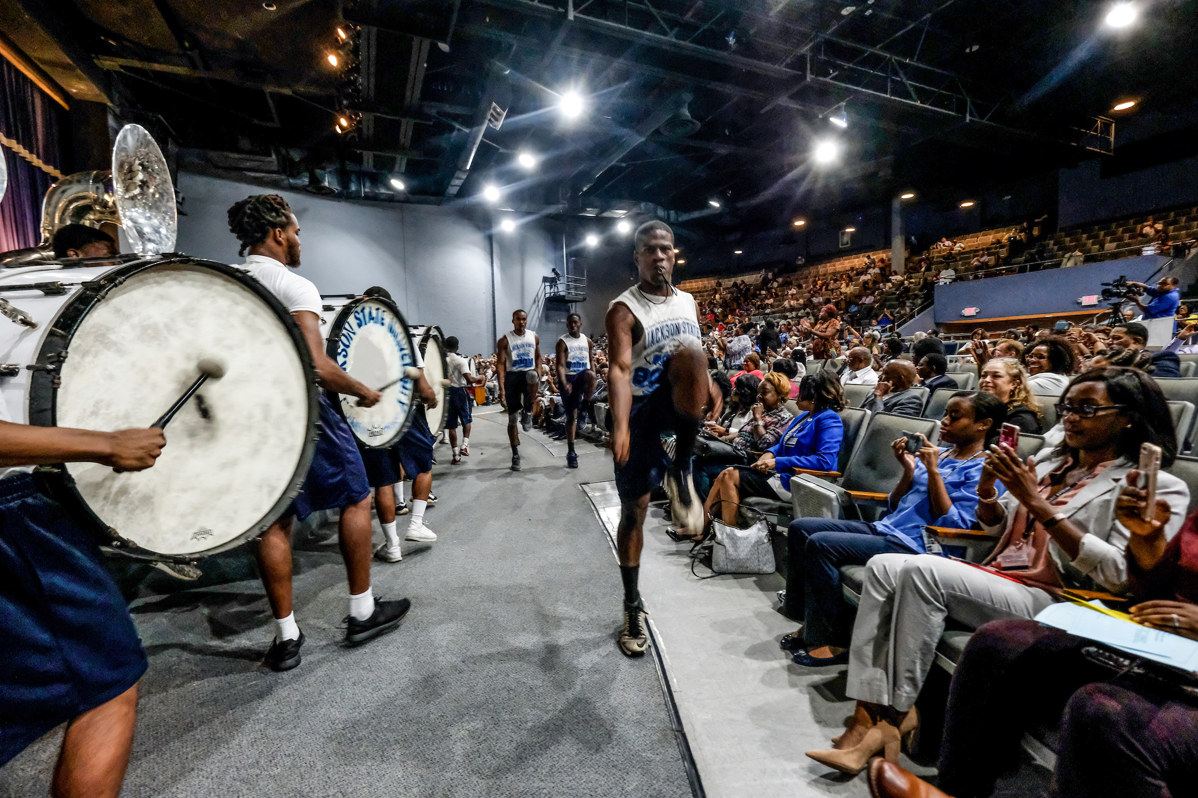 "The Sonic Boom performs to the upbeat sound of ""Get Ready"" to rally the crowd to prepare for the upcoming fall semester. (Photo by Charles A. Smith/JSU)"