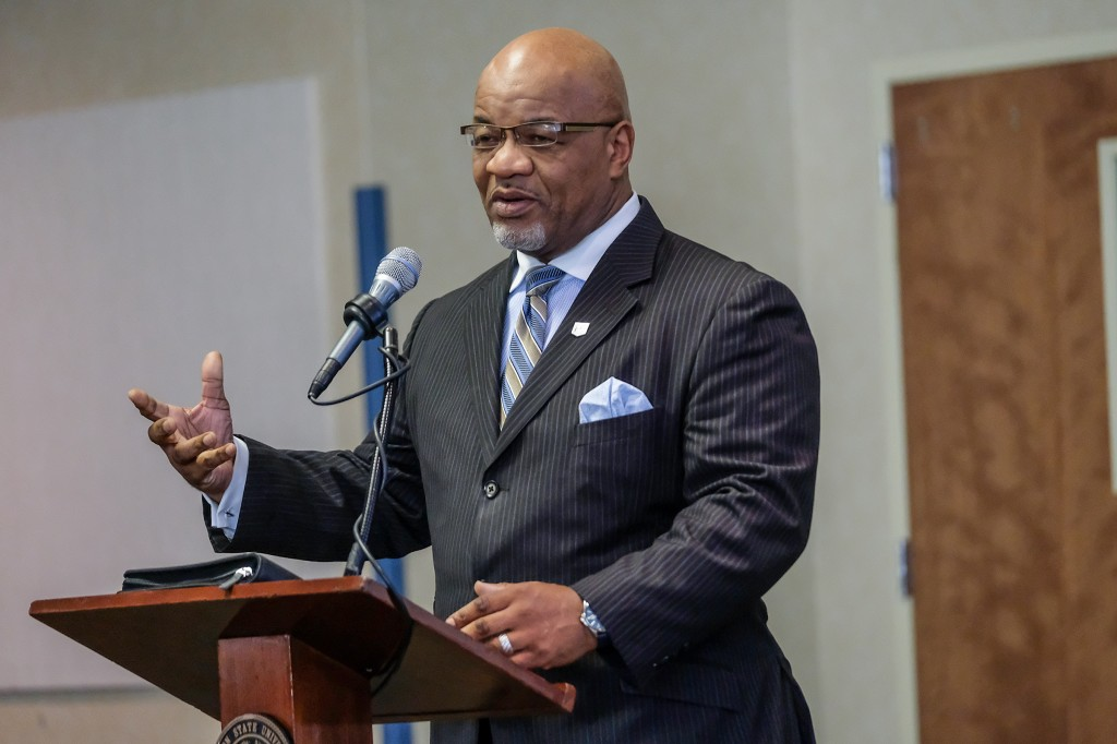 JSU President William B. Bynum Jr. offers remarks after Rankins' presentation. Bynum and his Cabinet met with Rankins earlier to discuss the state of the university. (Photo by Charles A. Smith/JSU)