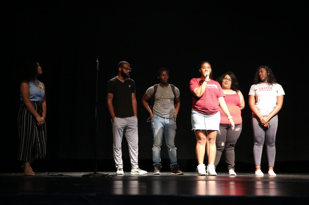 Members of JSU's student body volunteered to come on stage and share their reasons to live during the A Dose of Reality: Suicide Prevention Program at Rose E. McCoy Auditorium on Tuesday. (Photo by Kentrice S. Rush/JSU)