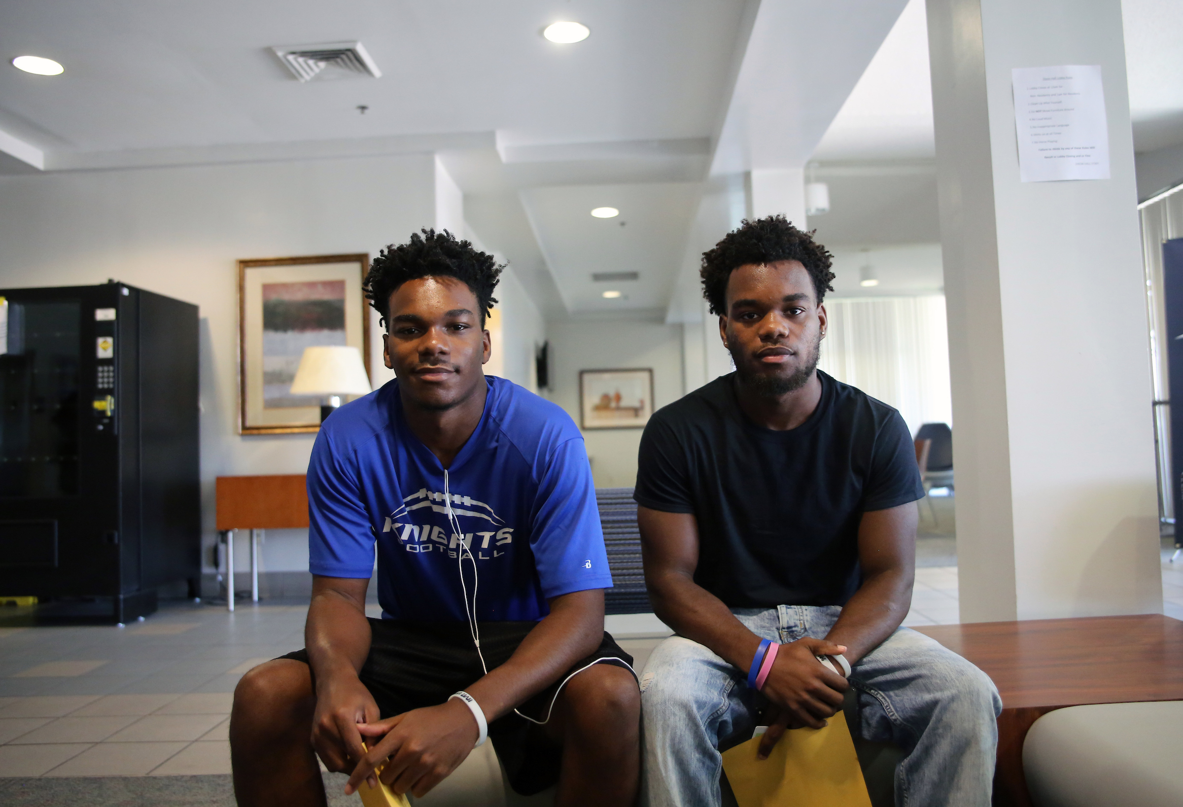Twins Stedman (right) and Paul (left) Quartermaine are from Stockton, California. They have a host of family members who attended JSU including Senator Hillman Frazier. (Photo by Aron Smith/JSU)